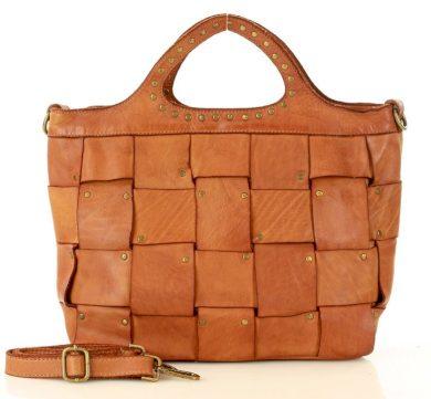 Pletená kožená kabelka mini nákupní shopper taška MARCO MAZZINI