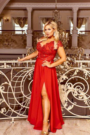 Krajkové červené šaty dlouhé plesové guipure s flitry - XL