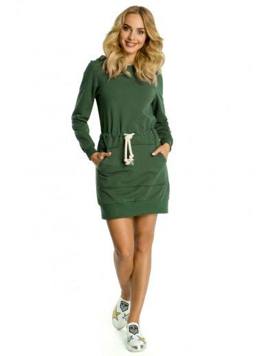 Sportovní bavlněné šaty s kapucí a klokaní kapsou MOE M352