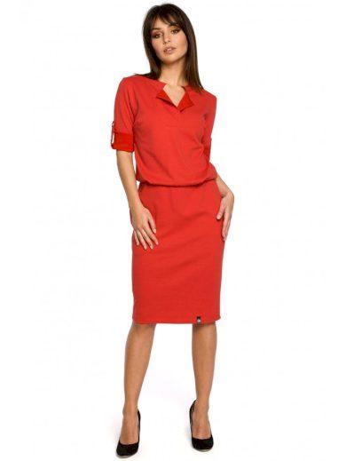 Pletené business šaty ve stylu košile BE B056