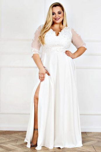 Plesové maxi svatební šaty krajkové CARMEN II 3/4 síťované rukávy