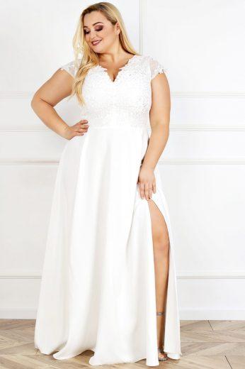 Maxi krajkové šaty svatební a společenské s krátkým rukávem