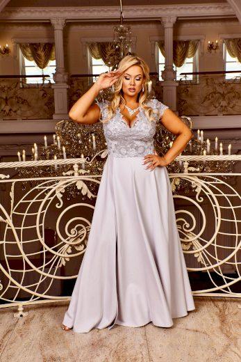 Dlouhé krajkové šaty CRYSTAL plesové a svatební šaty s rozparkem
