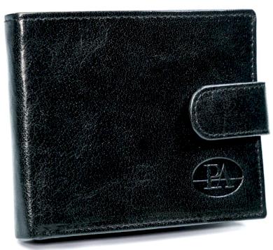 Malá pánská peněženka, vodorovná se sponou, pravá kůže