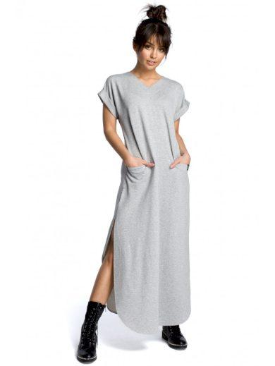 Maxi bavlněné šaty s bočními rozparky BEWEAR B065