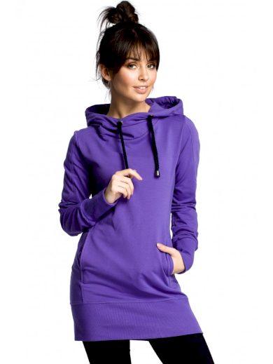 Bavlněný dlouhý svetr s kapucí a tkaničkami BEWEAR B072