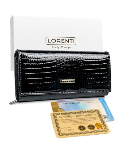 Černá, podlouhlá peněženka s klopou, lakovaná krokodýlí kůže
