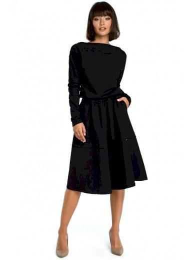 Bavlněné Midi šaty pod kolena s dlouhým rukávem