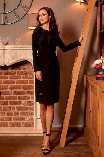 Elegantní pouzdrové šaty s ozdobnými knoflíky a volány na hrudi