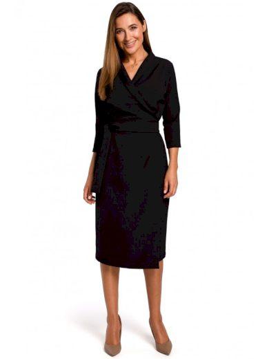 Pouzdrové midi šaty s obálkovým výstřihem S175