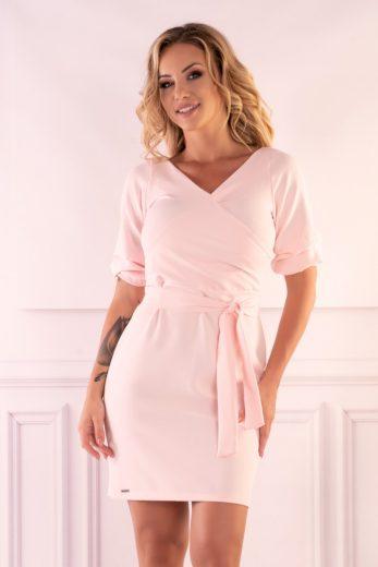 Elegantní šaty s obálkovým výstřihem do V a nabíranými rukávy