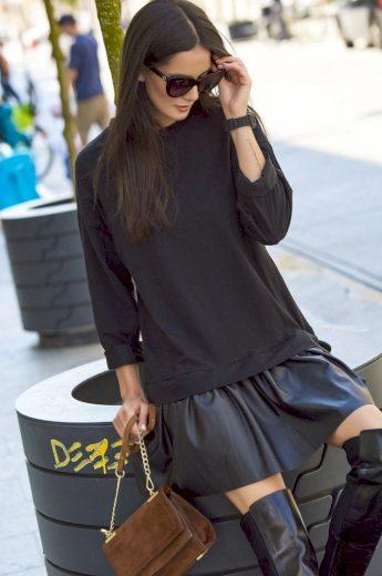 Bavlněné šaty s koženou sukní pro sportovní i oficiálnější styly