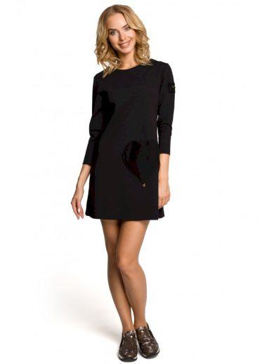 Trapezové šaty s kontrastním srdíčkem MOE M053