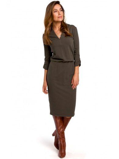 Pouzdrové pletené šaty s áčkovým výstřihem S194
