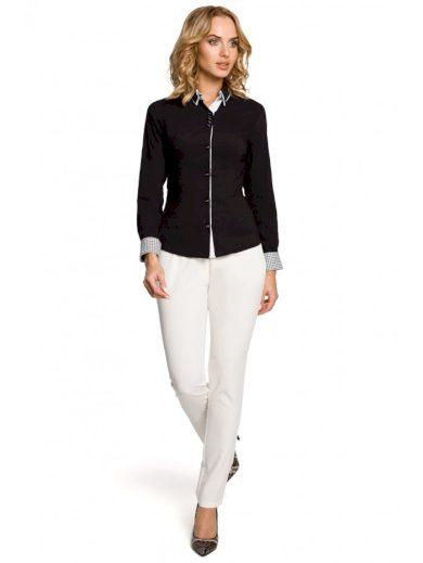 Stylová dámská košile s dlouhým rukávem s knoflíky a límcem M067