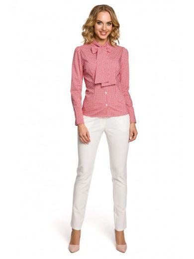 Dámská Kostkovaná košile s dlouhým rukávem a s vázací mašlí MOE M089
