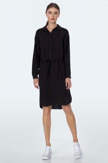 Košilové Šaty s knoflíky límcem šňůrkou v pase a náprsní kapsou