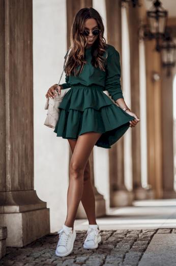 Stylový bavlněný komplet mikina + volánová sukně