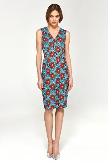 Pouzdrové šaty s potiskem bez rukávů