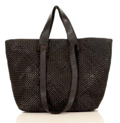 italská kožená nákupní taška shopper kabelka pletená intrecciato