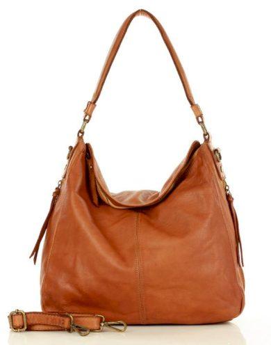 Kožená kabelka hobo bag shopper italská taška retro styl