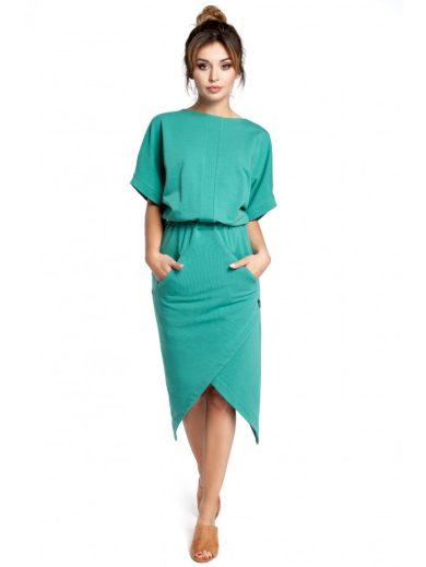 Asymetrické šaty se širokými rukávy délky midi B029