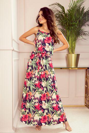 Dlouhé letní šaty na ramínka - barevné květiny NUMOCO 294-1