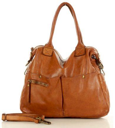 Kožená shopper kabelka vintage italská taška handmade
