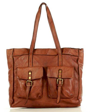 Kožená kabelka safari shopper nákupní taška s kapsami přírodní kůže