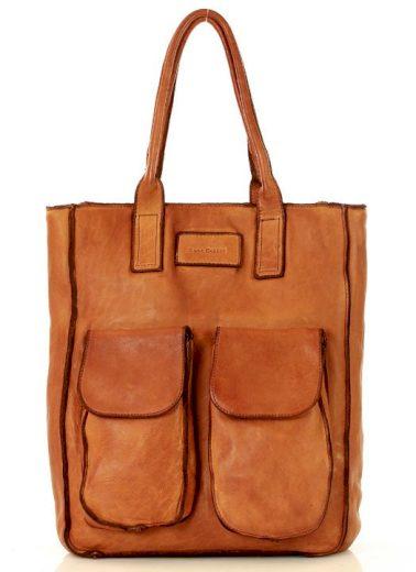 Kožená handmade kabelka nákupní taška s kapsami old pelle