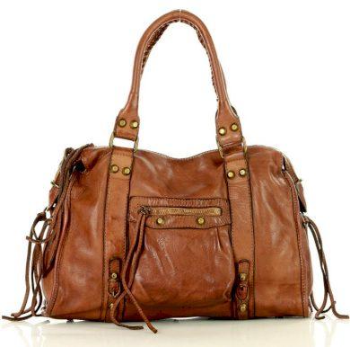 Kožená kabelka cestovní handmade taška vintage old pelle Itálie