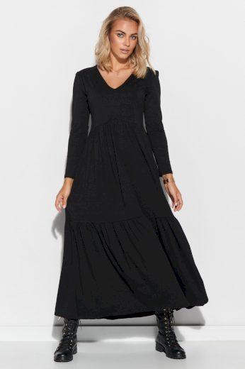 Bavlněné Maxi šaty s výstřihem do V a dlouhým rukávem