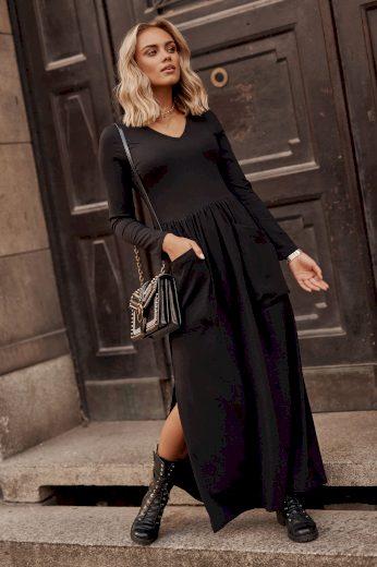 Maxi bavlněné šaty s výstřihem do V a kapsami