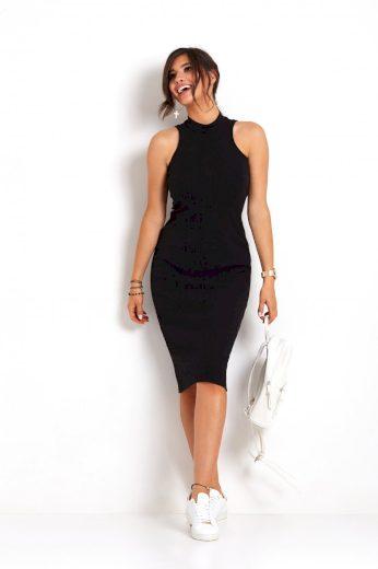 Pouzdrové midi šaty se stojatým límcem