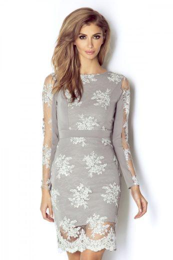 Krajkové šaty s dlouhým rukávem délky mini