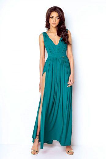 Elegantní plesové šaty jednobarevné s rozparkem