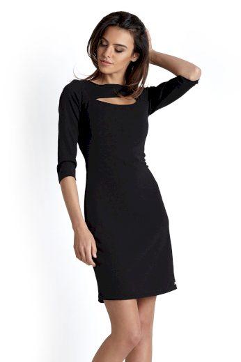 Stylové šaty v černé barvě s třpytkami a průstřihem
