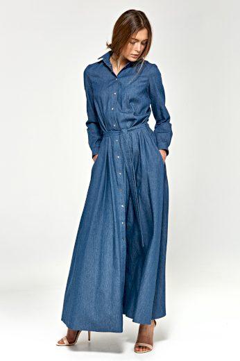 Džínové a vzorované maxi šaty s dlouhým rukávem NIFE
