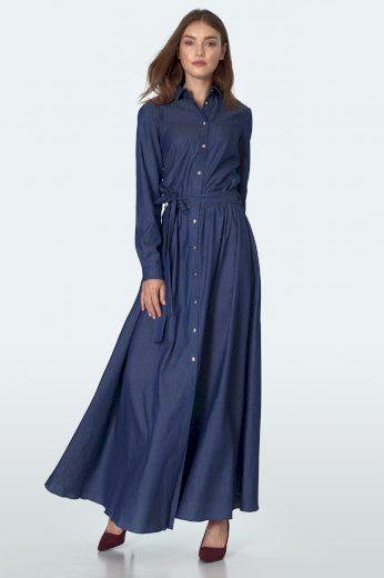 Džínové maxi šaty na knoflíky s límečkem a opaskem