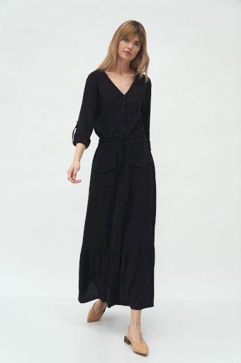 Dlouhé béžové šaty s kapsami NIFE S174