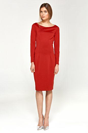 Elegantní pletené šaty s lodičkovým výstřihem NIFE
