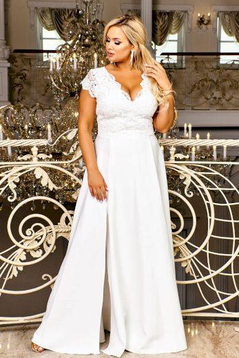 Maxi krajkové šaty bílé CRYSTAL svatební s rozparkem - 2XL/5XL