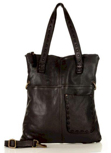 Originální kabelka kožená shopper taška s pletenými úchyty