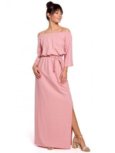 Maxi bavlněné šaty s odhalenými rameny a rozparkem B146