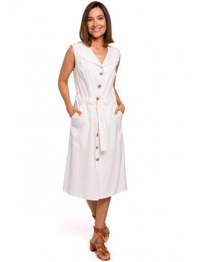 Košilové šaty bez rukávů s páskem STYLE S208