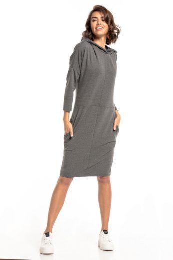 Pletené šaty ke kolenům s kapucí a kapsami TESSITA T321