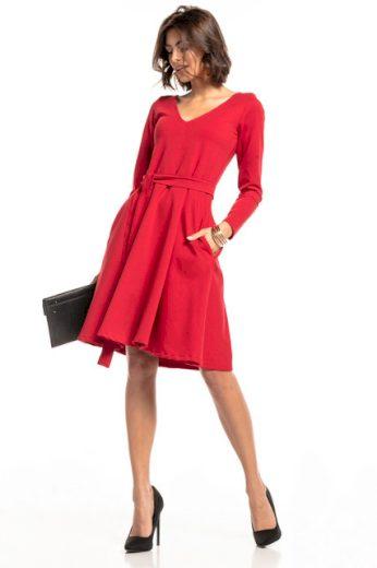 Šaty s výstřihem do V a kapsami TESSITA T323 - různé barvy