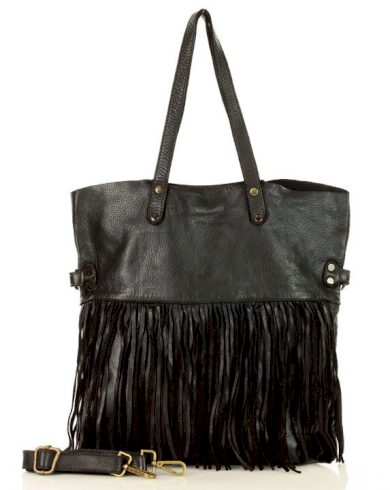 Italská Shopper kabelka s třásněmi handmade taška z pravá kůže