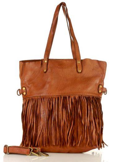 Shopper kabelka s třásněmi boho taška pravá kůže handmade bag střapce