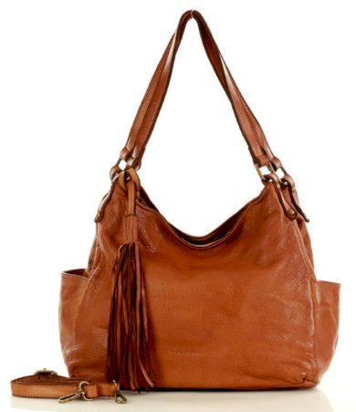 Kožená kabelka shopper italská  klasická taška MARCO MAZZINI